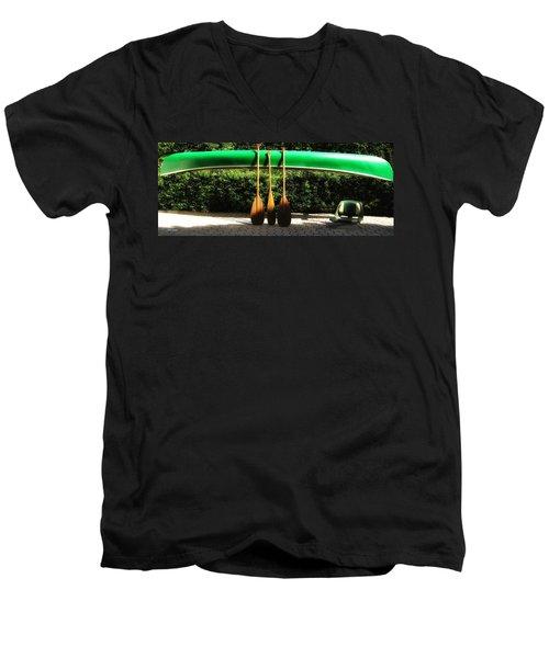 Canoe To Nowhere Men's V-Neck T-Shirt by Alec Drake