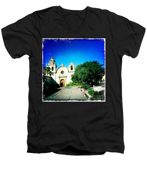 Men's V-Neck T-Shirt featuring the photograph Carmel Mission by Nina Prommer
