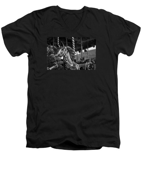 Men's V-Neck T-Shirt featuring the photograph Carousel Horses Mono by Steve Purnell