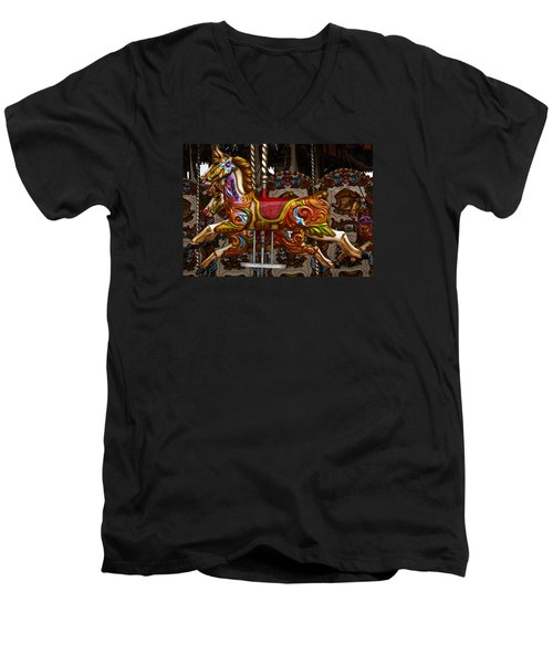 Men's V-Neck T-Shirt featuring the photograph Carousel Horses by Steve Purnell