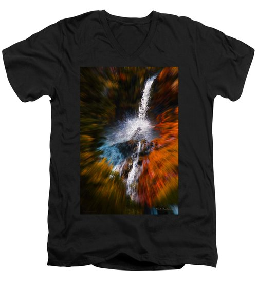 Men's V-Neck T-Shirt featuring the photograph Cascade Waterfall by Mick Anderson