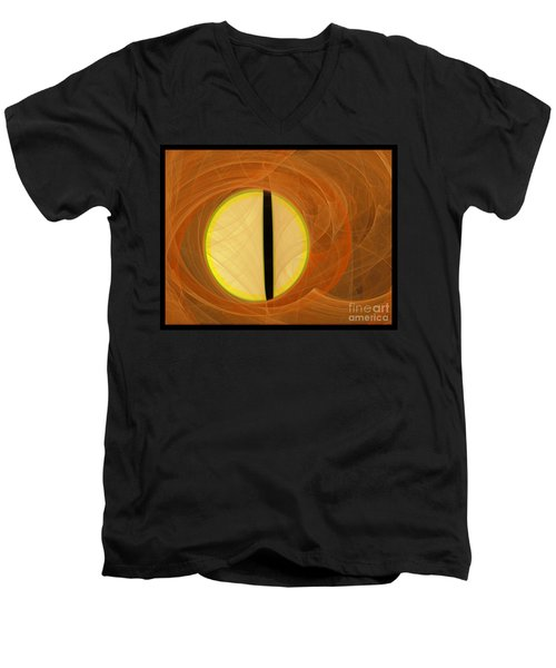 Men's V-Neck T-Shirt featuring the digital art Cat's Eye by Victoria Harrington