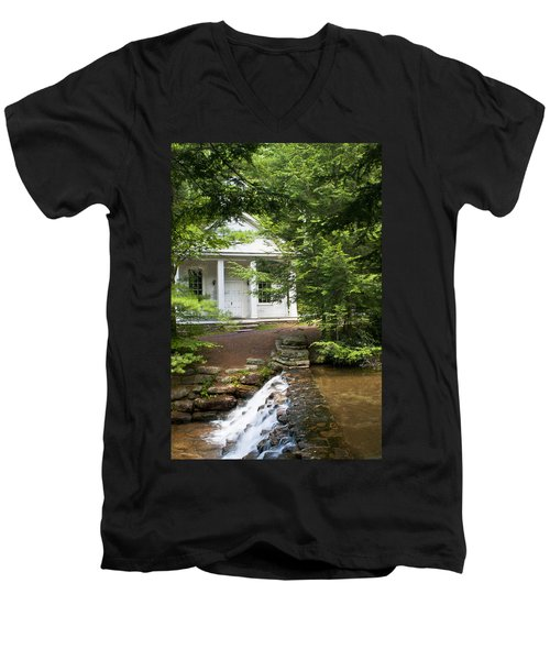 Chapel At Hickory Run State Park Men's V-Neck T-Shirt