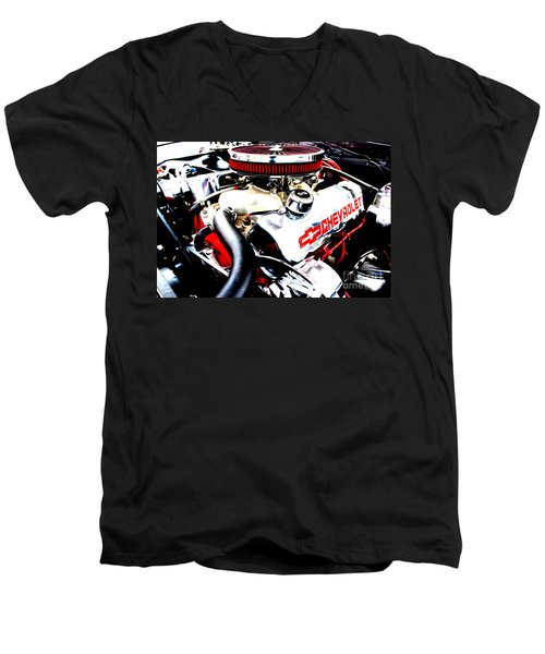 Men's V-Neck T-Shirt featuring the digital art Chevy Power Plant by Tony Cooper