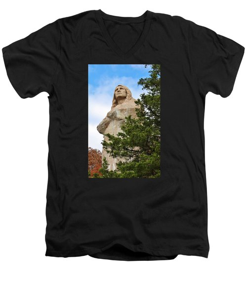 Men's V-Neck T-Shirt featuring the photograph Chief Blackhawk Statue by Bruce Bley