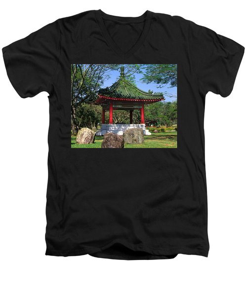 Men's V-Neck T-Shirt featuring the photograph Chinese Gardens Garden Pavilion 21b by Gerry Gantt