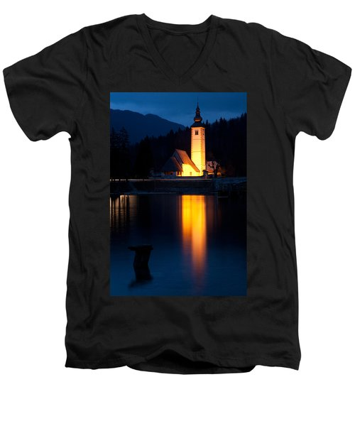 Church At Dusk Men's V-Neck T-Shirt
