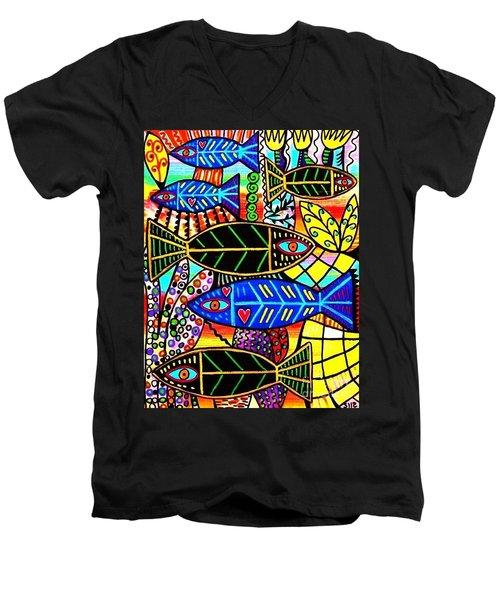 Citrine Coral Fish Men's V-Neck T-Shirt