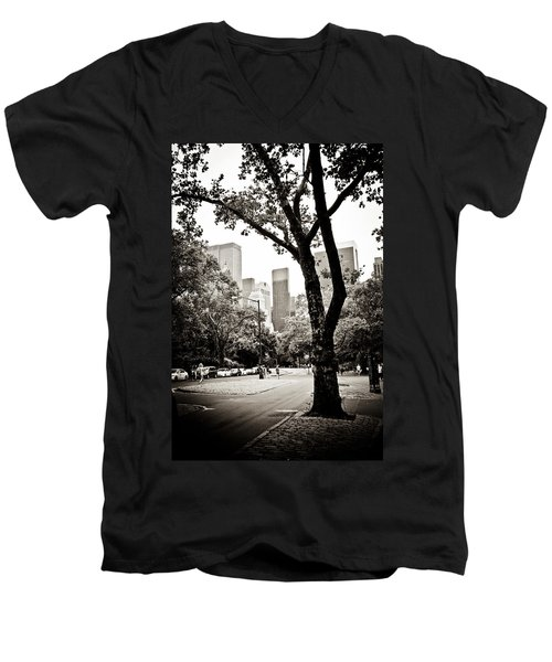 Men's V-Neck T-Shirt featuring the photograph City Contrast by Sara Frank