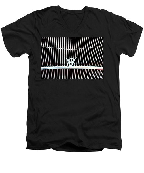 Men's V-Neck T-Shirt featuring the digital art Classic Ford Grill by Tony Cooper