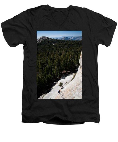 Climber In Yosemite Men's V-Neck T-Shirt