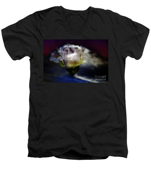 Men's V-Neck T-Shirt featuring the photograph Cloud Rose Painterly by Clayton Bruster