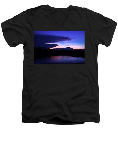 Men's V-Neck T-Shirt featuring the photograph Clouded Sunset Over The Tomoka by DigiArt Diaries by Vicky B Fuller