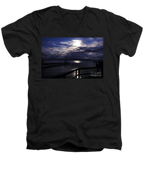 Men's V-Neck T-Shirt featuring the photograph Cold Night On The Water by Clayton Bruster