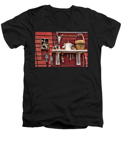 Men's V-Neck T-Shirt featuring the photograph Collection On The Barn by Jan Amiss Photography