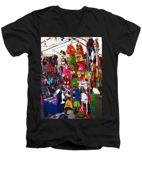 Men's V-Neck T-Shirt featuring the photograph Colorful Character Hats by Kym Backland