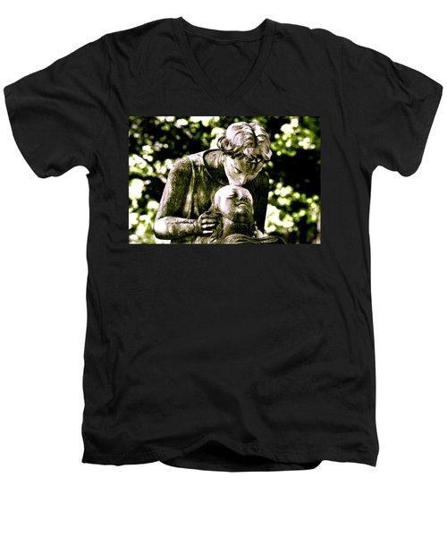 Comforted Men's V-Neck T-Shirt by Valerie Rosen