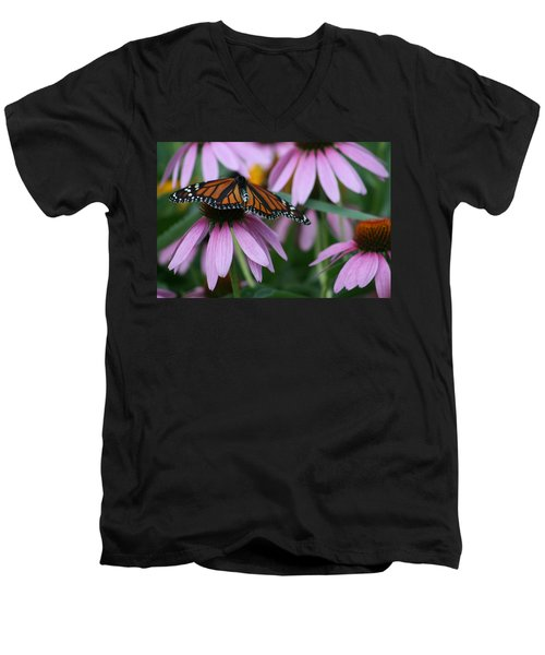 Men's V-Neck T-Shirt featuring the photograph Cone Flowers And Monarch Butterfly by Kay Novy