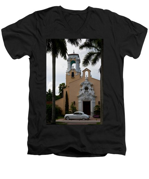 Men's V-Neck T-Shirt featuring the photograph Congregational Church Front Door by Ed Gleichman