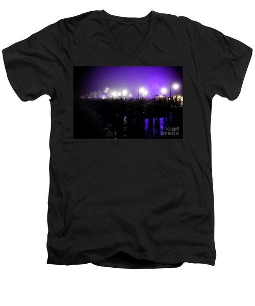 Men's V-Neck T-Shirt featuring the photograph Cool Night At Santa Monica Pier by Clayton Bruster
