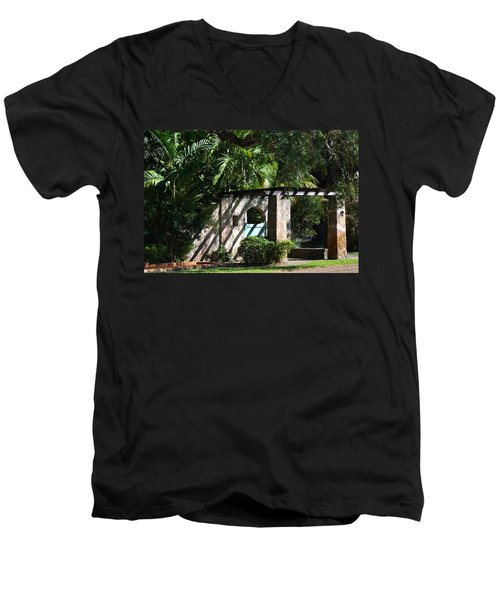 Men's V-Neck T-Shirt featuring the photograph Coral Gables Gate by Ed Gleichman