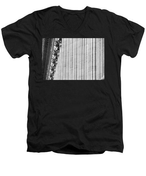 Men's V-Neck T-Shirt featuring the photograph Corinthian Columns by John Schneider