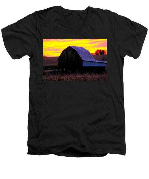 Men's V-Neck T-Shirt featuring the photograph Cornfield Barn Sky by Randall Branham
