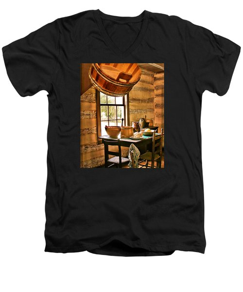 Men's V-Neck T-Shirt featuring the digital art Country Kitchen by Mary Almond