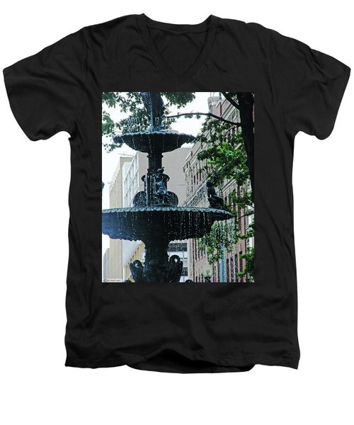 Men's V-Neck T-Shirt featuring the photograph Court Square Memphis by Lizi Beard-Ward