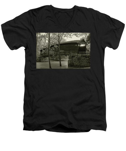 Men's V-Neck T-Shirt featuring the photograph Covered Bridge by Mary Almond