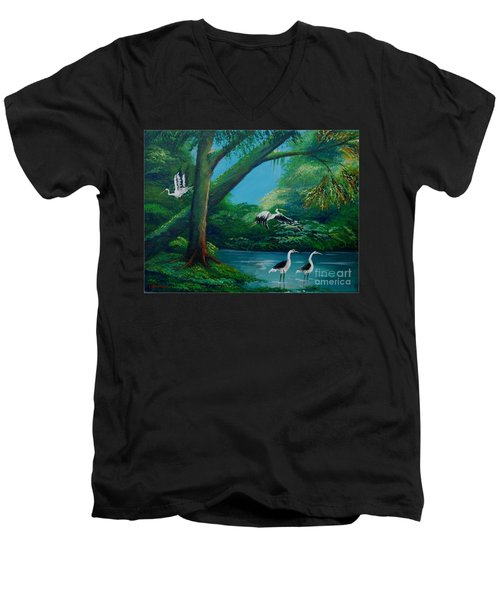 Cranes On The Swamp Men's V-Neck T-Shirt