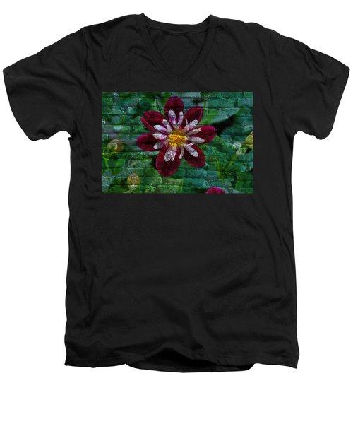 Crazy Flower Over Brick Men's V-Neck T-Shirt