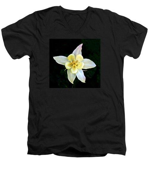 Creamy Columbine Men's V-Neck T-Shirt by Nick Kloepping