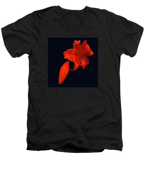 Crimson Lily Men's V-Neck T-Shirt by Nick Kloepping