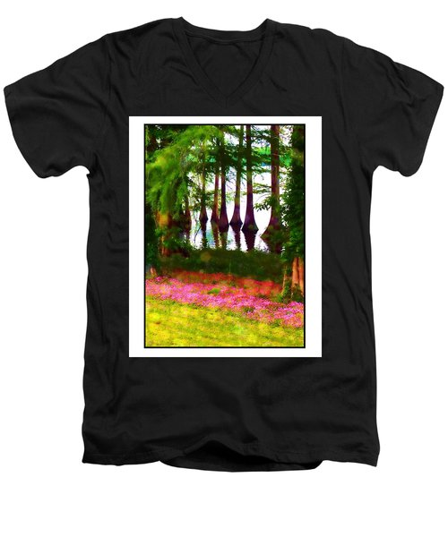 Cypress With Oxalis Men's V-Neck T-Shirt by Judi Bagwell