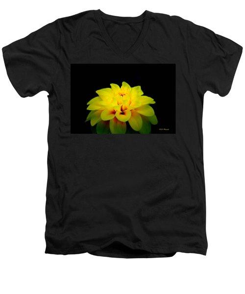 Dahlia Delight Men's V-Neck T-Shirt by Jeanette C Landstrom