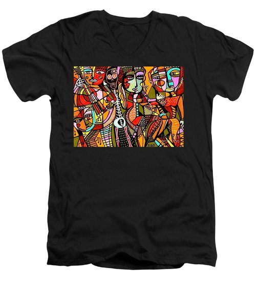 Day Of The Dead Lovers Tango Men's V-Neck T-Shirt by Sandra Silberzweig