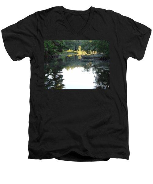 Deer River In Early Sun Men's V-Neck T-Shirt