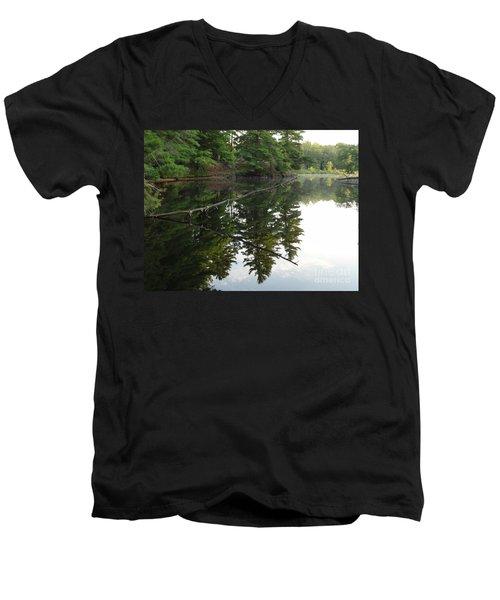 Deer River Reflection Men's V-Neck T-Shirt