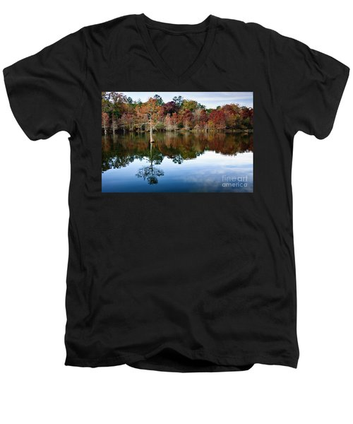 Men's V-Neck T-Shirt featuring the photograph Beaver's Bend Defiant Cypress by Tamyra Ayles
