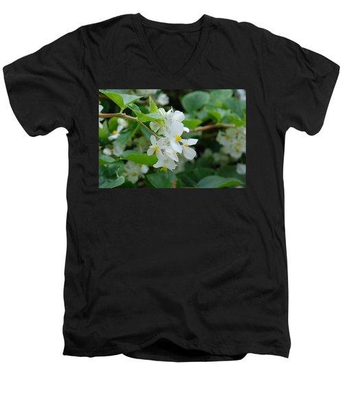 Men's V-Neck T-Shirt featuring the photograph Delicate White Flower by Jennifer Ancker