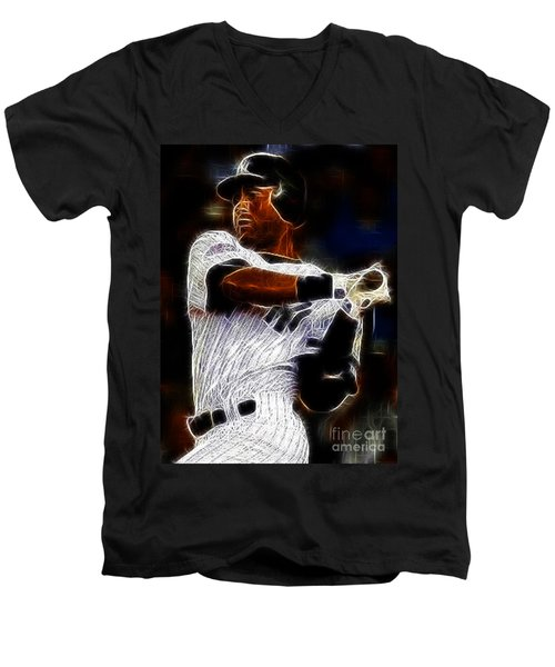 Derek Jeter New York Yankee Men's V-Neck T-Shirt by Paul Ward