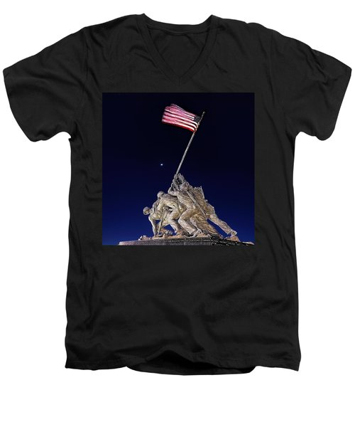 Digital Drawing - Iwo Jima Memorial At Dusk Men's V-Neck T-Shirt