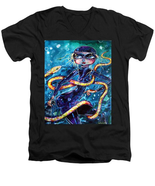 Men's V-Neck T-Shirt featuring the painting Diving With Serpent by Leanne Wilkes