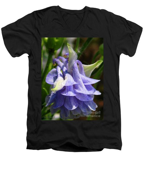 Men's V-Neck T-Shirt featuring the photograph Double Columbine Named Light Blue by J McCombie