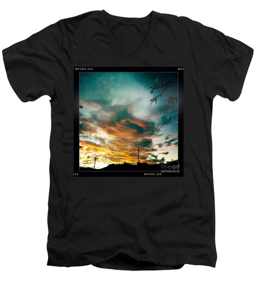 Men's V-Neck T-Shirt featuring the photograph Drama In The Sky by Nina Prommer