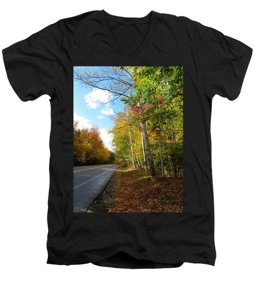 Driving Though The Birches Men's V-Neck T-Shirt