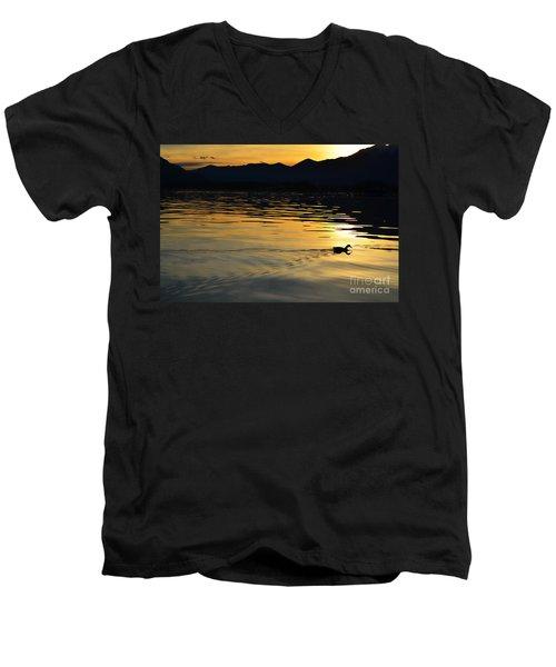 Duck Swimming Men's V-Neck T-Shirt