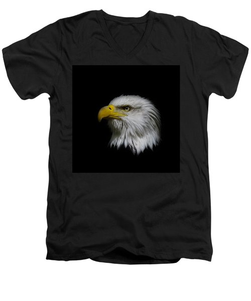 Men's V-Neck T-Shirt featuring the photograph Eagle Head by Steve McKinzie