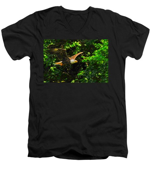 Men's V-Neck T-Shirt featuring the photograph Eagle Taking Lunch To Her Babies by Randall Branham
